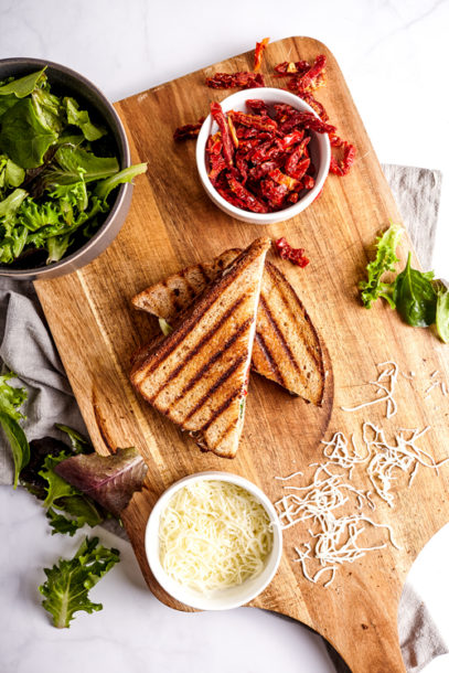 Mediterranean Healthy Grilled Cheese with Feta and Sun Dried Tomatoes