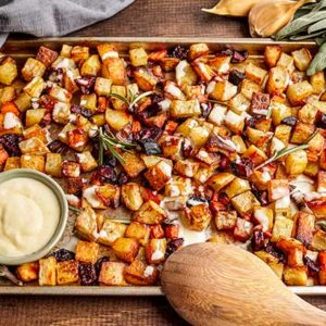 Roasted Winter Vegetables with Garlic 'Aioli'