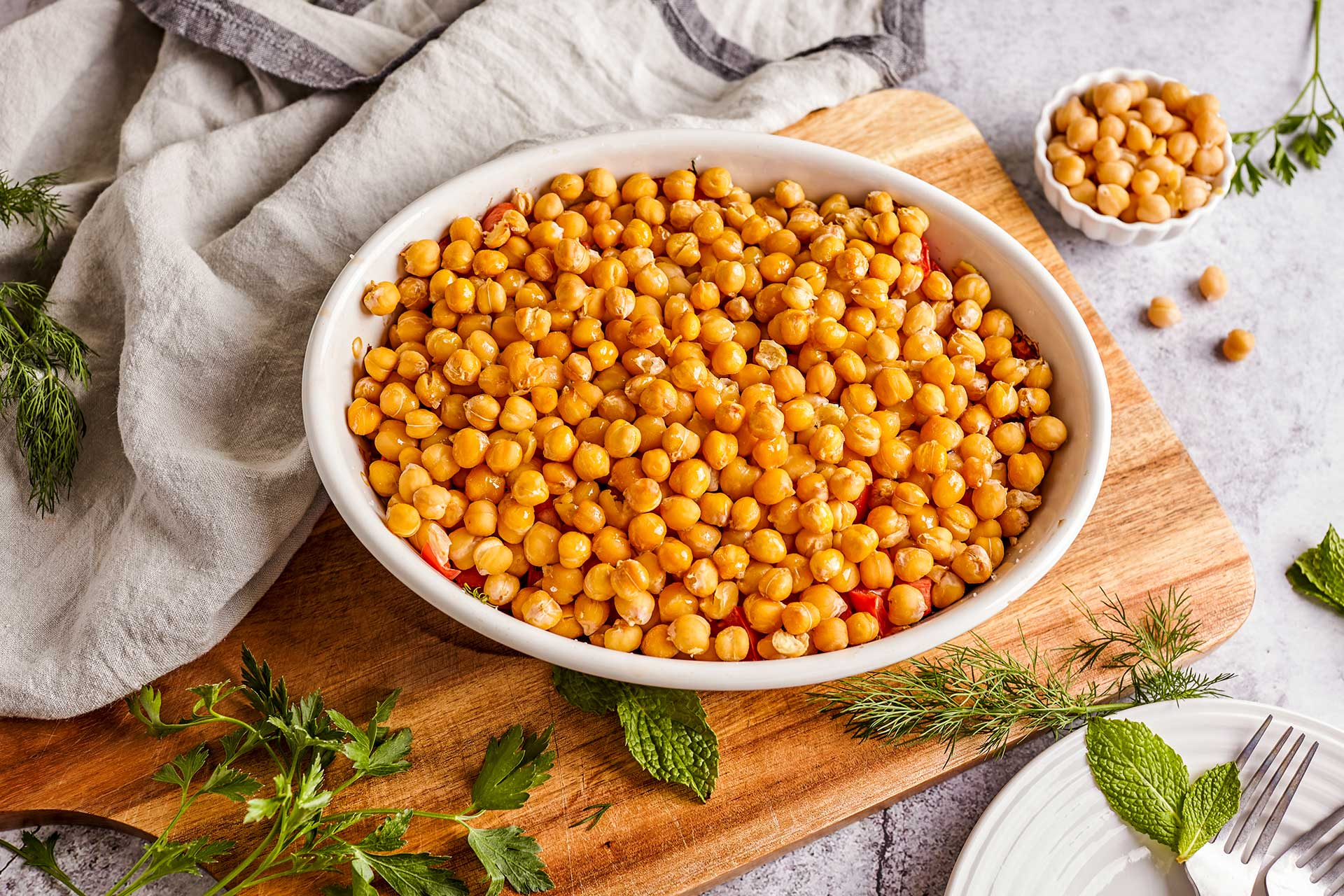 Baked Chickpeas with Zucchini and Fresh Herbs