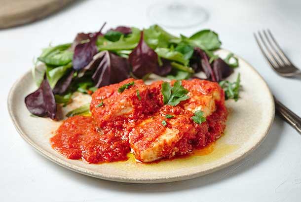 Cod with Tomato Sauce (Bacalao a la riojana - Spain)