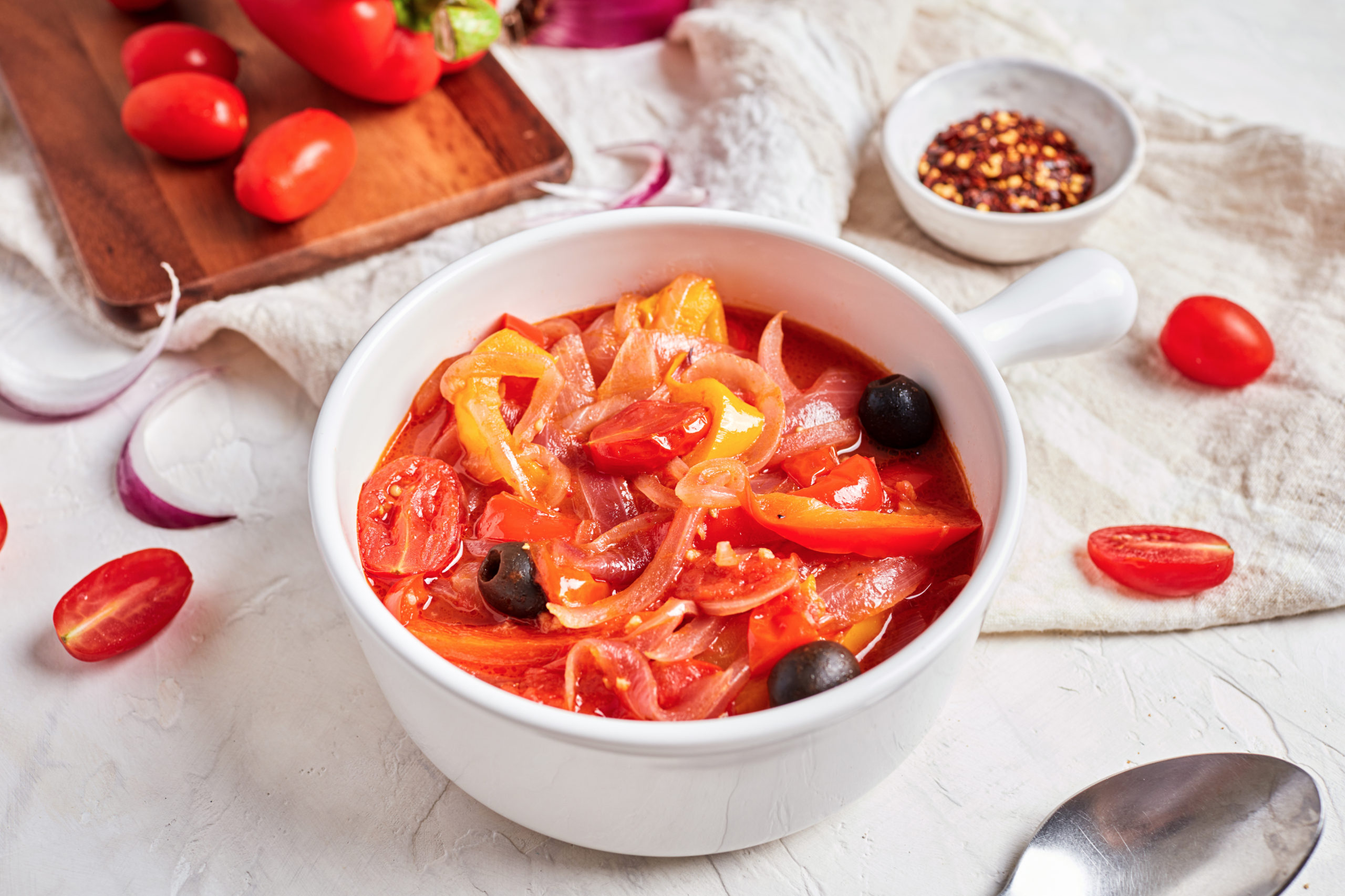 Italian Peperonata (Sweet Bell Peppers with Tomatoes and Olives)