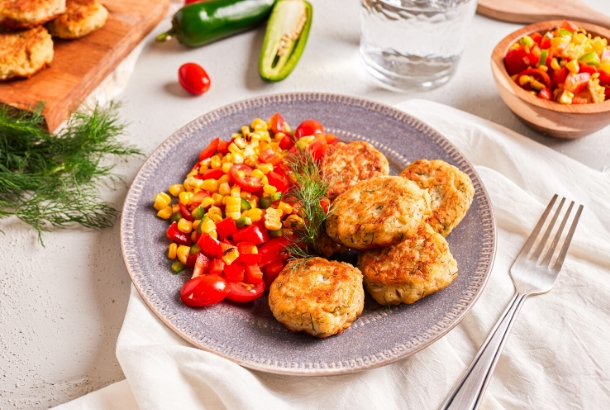 Salmon Cakes with Potato and Fire Roasted Corn Salsa