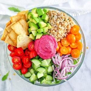 Mediterranean Vegan Bowl with Beet Hummus