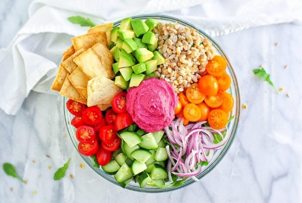 Mediterranean Vegan Bowl with Beet Hummus