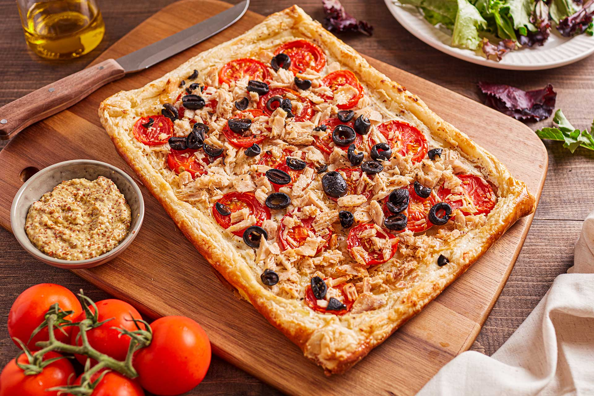 Puff Pastry with Tuna, Tomatoes and Olives (France)