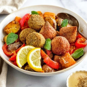 Roasted Potatoes with Sweet Tahini Dressing and Falafel