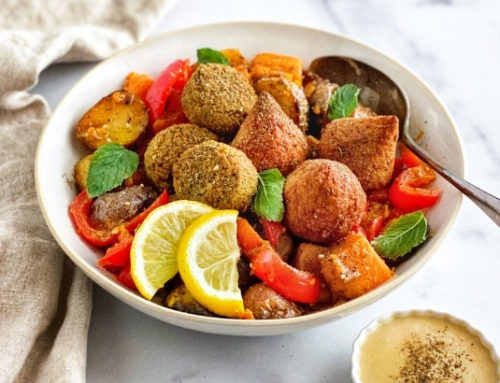 Roasted Potatoes with Tahini Dressing and Falafel