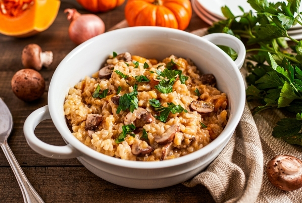 Pumpkin Risotto with Mushrooms