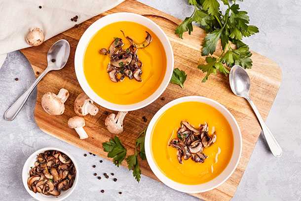 Pumpkin Soup with Sautéed Mushrooms