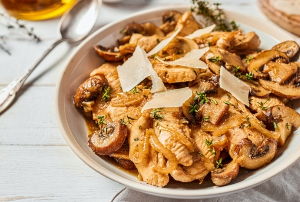 Chicken Skillet with Mushrooms and Slivered Paremesan