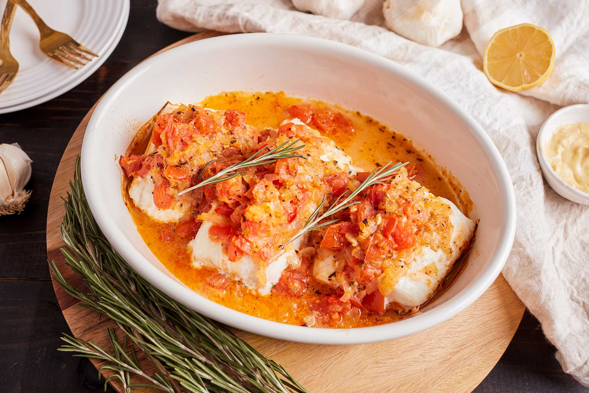 Baked Halibut with Lemon and Rosemary (Greece)