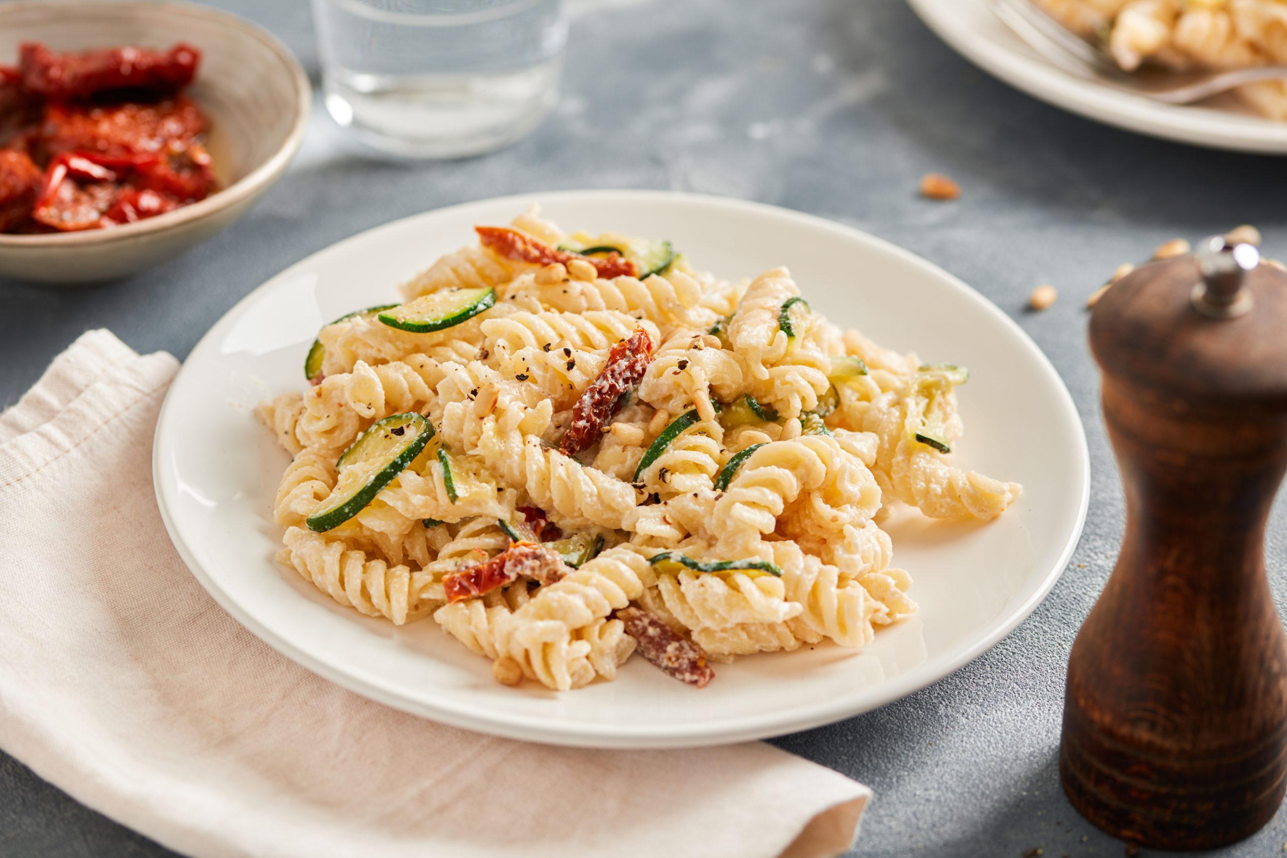 Pasta with Zucchini, Sun-Dried Tomatoes, Ricotta & Pine Nuts