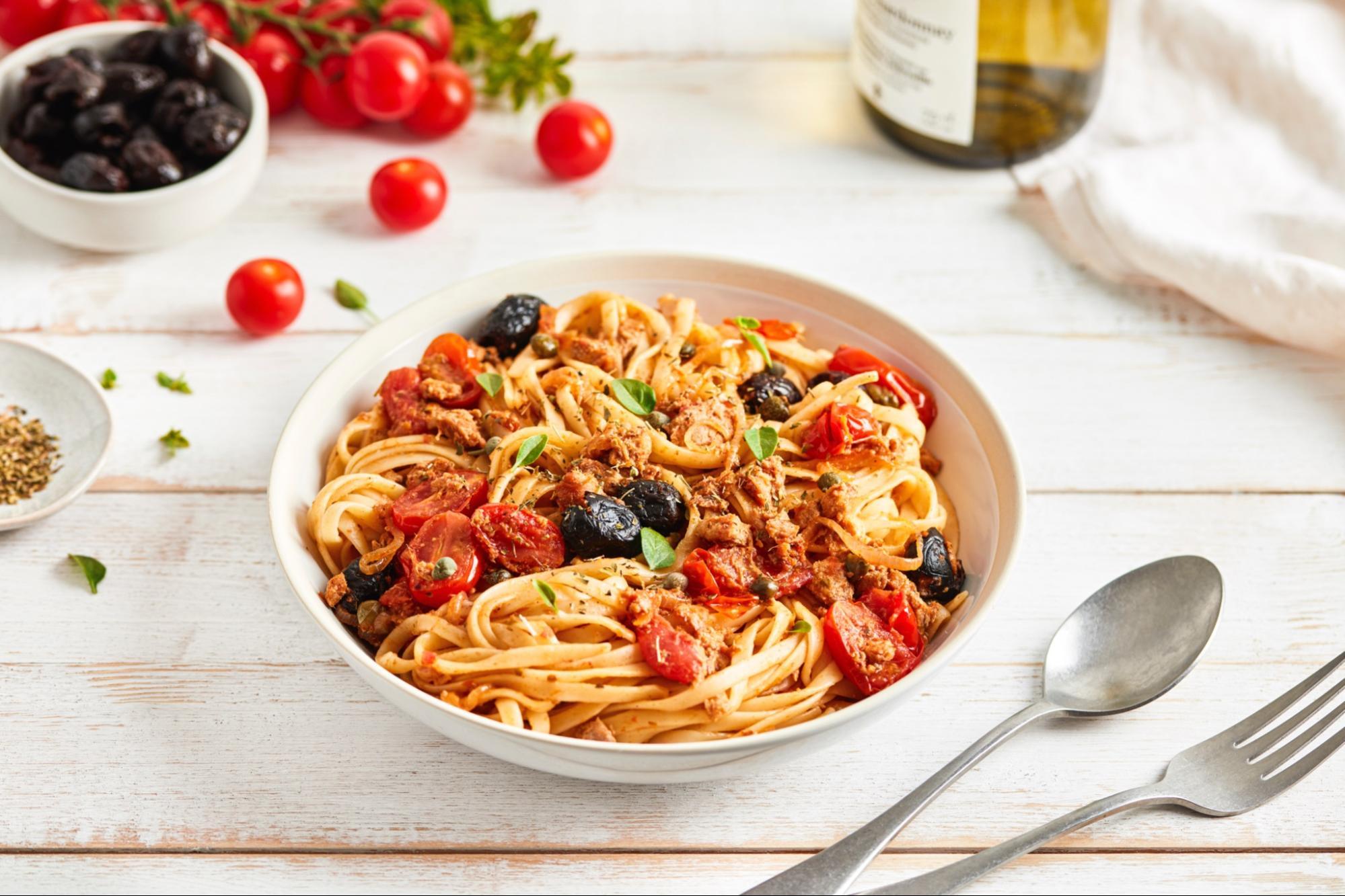 Pasta alla Puttanesca with Canned Tuna (Italy)