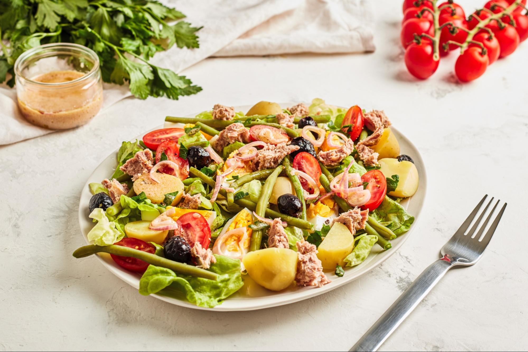 Salad Nicoise with Tuna, Potato and Egg (France)